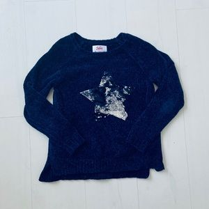 Blue sequined sweater